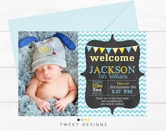 BIRTH ANNOUNCEMENT Boy, Printable BABY Thank you Card, Chevron Birth Announcement, Printable Birth Announcement, Boy Baby Thank you Card