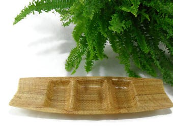 Vintage Raffia Ware Condiment Dish * Divided Serving Tray
