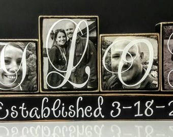 Personalized Family Photo Blocks. Please note price is 8 dollars per block.