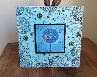 Original, mixed media, bee-themed artwork on canvas
