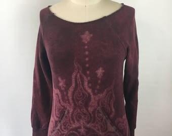 XSMALL fleece slouchy neck pullover