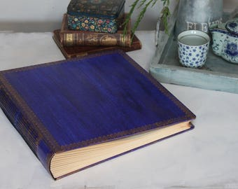 Royal blue and gold hand bound wedding photo album | 12x12 inch scrapbook album | photo booth wedding guest book | Made to order