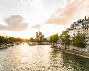 Paris Photography Print - Notre Dame at Sunset - Paris Wall Art - Travel Photography Print
