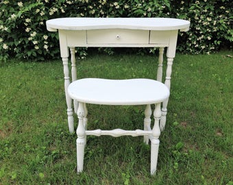 Vintage 1940's Kidney Shaped Vanity Desk with Stool