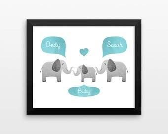 ELEPHANT Nursery Wall Art, Safari Animal Nursery Art, Kids Baby Room Decor, New Baby Gift, Personalized Nursery Decor, Safari Nursery Print