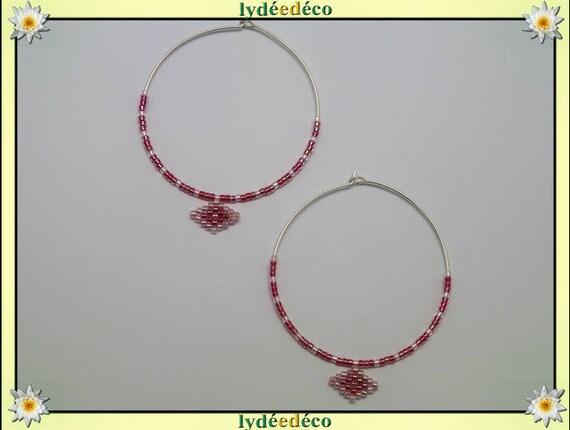 Round 925 sterling silver hoop earrings Japanese beads weaving pink iridescent pastel diameter 45mm