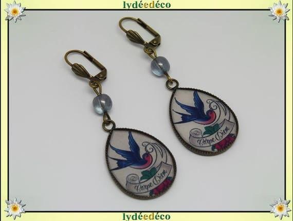 Dangle drop earrings vintage retro bird Carpe Diem peace pink blue white resin bronze Pearl glass pendants 25mm