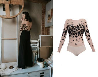 longsleeve lace blouse - black bodysuit - romantic blouse - wedding bodysuit - wedding top - wedding lace - romantic gown - lace top -