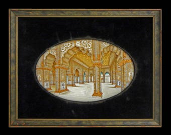 Antique Mughal Miniature Painting Red Fort Old Delhi Audience Hall Grand Tour - 19th Century, India