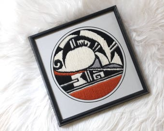 Vintage First Nations Embroidery / Vintage Abstract Embroidery /Vintage Loom Art /Vintage Woven Art / Vintage Native Woven Art /Wall hanging