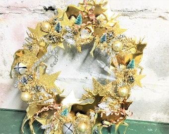 Christmas Wreath Reindeer Rose Gold Copper Brass Vintage Ornaments