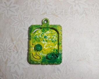 1 x pendant jungle theme, handmade, enameled