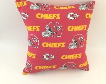KC Chiefs Pillow, KC Chiefs Fabric, Man Cave Pillow, Kansas City Chiefs, Sports Pillow, Guy Gift, Man Gift, Red Pillow