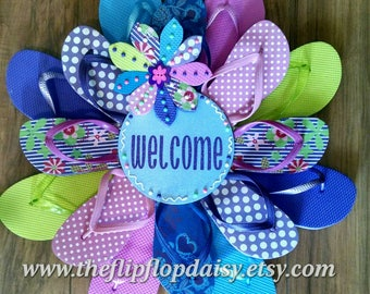 Adorable Blue Metallic and Purple Glitter Welcome Flip Flop Wreath W/ A Mix of Bright Colors Flowers & Polka Dots Door Decor Costal Beachy