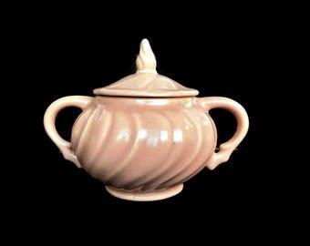 Vintage Franciscan Sugar Bowl with Lid Coral Beige Matte Pink China California Mid Century Dinnerware Set Pink Swirl 1936-1954