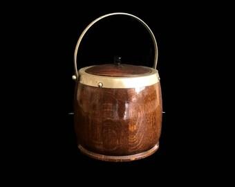 Vintage English Biscuit Barrel EPNS Oak Barrel Cookie Jar Nickel Silver Original Porcelain Liner Farmhouse English Antique Ice Bucket