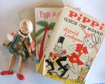 Vintage Pippi Longstocking Books, S/3, Astrid Lindgren, Sweden, Villekulla Cottage, Hardcover, Softcover, Read Aloud, Gift, Display, Child