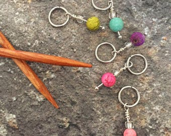 Stitch markers, set of five stitch markers, knitting stitch markers, snag free stitch markers
