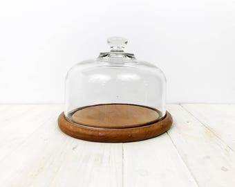 Vintage Dome Cloche | Teak Wood Serving Platter | Christmas Gift for Foodie
