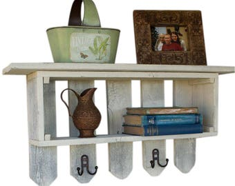 Shelf with Hooks on Fence Pickets from Reclaimed Wood | Whitewash
