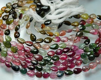 54 Carats,14 Inch strand Super-FINEST,Multi Tourmaline Faceted Full Drill Pear Briolettes 7.5-9mm