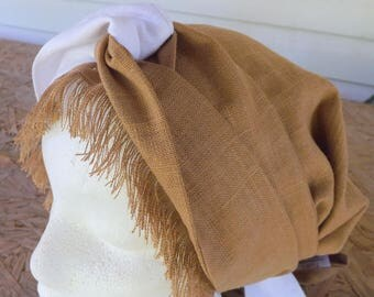 Caramel Brown Linen/Rayon Long Tie Scarf Head Cover Tichel with Long Two Toned White and Caramel Wrap Ties