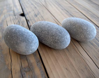 "3 Medium Chubby Egg Stones 2.4""x1.7"",Beach Stones,Sea Stones,Egg Shaped Stones,Zen,Mandala Stones,Stones For Painting,Crafting Rocks,RTS"