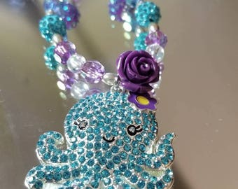 Turquoise and purple neacklace with a pendant ocatapus.turquise sparkly girls nirthday