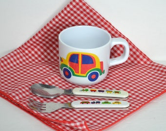 Vintage Childs Cup and Utensil Set, Iconic Trains Trucks Car, Style of Marimekko Pikku Bo Boo, Plastic+Stainless Fork/Spoon, Taiwan K&L ROC