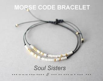 Set of 2 Morse Code Soul Sisters Bracelets, Friendship Bracelets, Sorority Bracelets