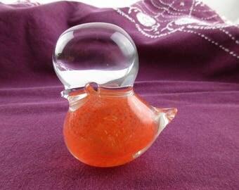 Glass Bird Made in Sweden - Orange Body - Clear Glass Head - Beak, Eyes and Tail - Blown Glass Piece - Modernist - Paperweight - Glass