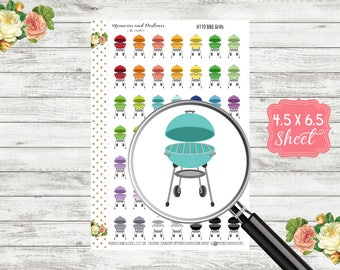 H110 BBQ Grill Stickers - Cookout Planner Stickers - BBQ Stickers - Cookout Stickers - Barbecue Stickers - Grilling Sticker - Picnic Sticker