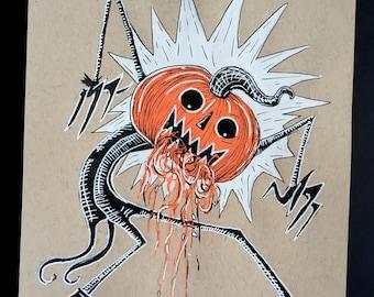 Pumpkin Guts Original Ink Drawing on Toned Paper