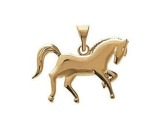 Pendant engraved horse riding plated gold with or without engraving
