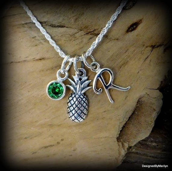 Sterling silver pineapple necklace, initial necklace, personalized jewelry, ananas necklace