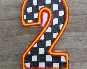 Car Birthday Candle, checkered flag birthday candle