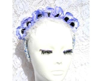 blue flower crown ,Flower Headband blue, Spring 2018