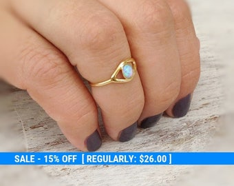 Evil eye ring, gold ring, stacking ring, eye, evil eye jewelry, opal stone,gift for her -10028