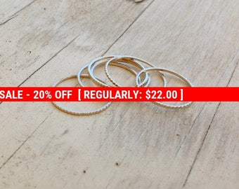 SALE 20% OFF Set of 5 Gold rings, Stacking ring, stacking gold rings, thin ring, hammered ring, tiny ring, thin rings- R22