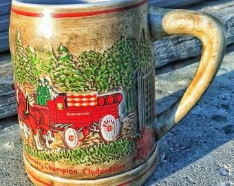 Unusual brown 1976 budweiser beer stein mug clydesdales ceramarte brazil NO LID