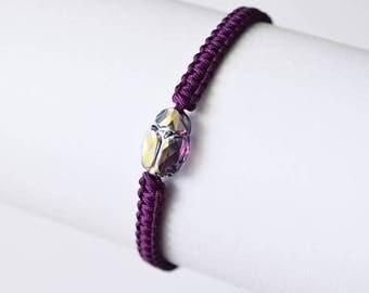 Christmasinjuly Amethyst ABx2 Swarovsky Scarab Bracelet Crystal Bracelet Friendship Bracelets Woven bracelet Purple linen twine minimalist t