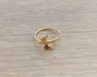Dove Ring, Gold Ring, Bird Ring, Stack Ring, Star Ring, Thin Ring