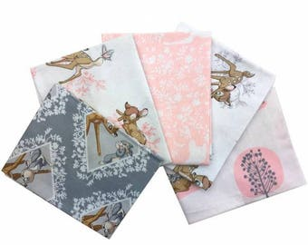 Fabric, Disney Fabric,Bambi Fabric,Cotton Fabric,Bambi,100% Cotton Fabric,DisneyFat Quarter pack,Bambi Fat Quarter Pack