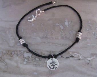 Sterling Silver and Natural Hemp Pendant Bracelet Om Ohm Yoga BoHo Handmade- Toniraecreations