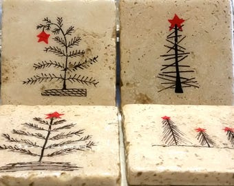 Christmas Drink Coasters | Drink Coasters | Stone Coasters | Christmas Stone Coasters