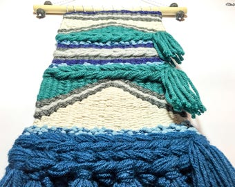 Woven Wall Hanging, Teal and Grey, Navy and Cream, Wall Weaving, Weaving, Weaving Wall Hanging, Woven Home Decor, Wall Art, Wall Hanging