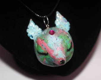 Big pastel deer head polymer clay necklace