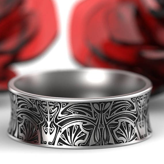 Norse Wedding Ring With Stylized Design in Sterling Silver, Made in Your Size CR-5086