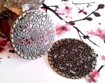 10 beautiful round prints of 4.1 cm (very thin metal) filigree bronze color