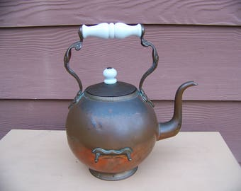 unusual vintage copper tea pot